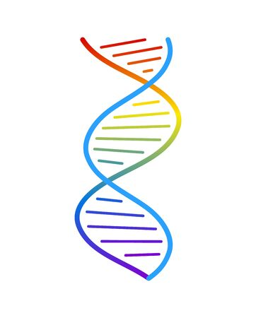 Abstract DNA strand symbol. Isolated on white background. Vector concept illustration. Ilustração