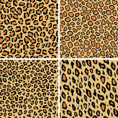 Set of leopard skin seamless pattern. Wild cat texture repeat. Abstract animal fur wallpaper. Contemporary backdrop. Concept trendy fabric textile design. Ilustração