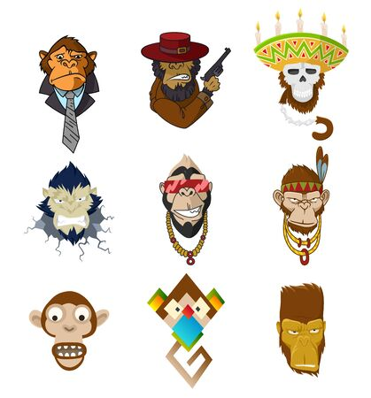 Set of gangster monkeys holding machine gun. Vector serious gorilla head in mexican hat. Ape, primate, wearing business suit and tie, native american, indian headdress with feathers boho chic. Ilustração