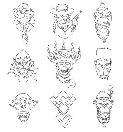 Set of gangster monkeys holding machine gun for coloring book. Vector serious gorilla head in mexican hat. Ape, primate, wearing business suit and tie, native american, indian headdress with feathers. Ilustração