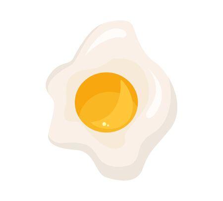 Fried egg isolated on white background. Fried egg flat icon. Fried egg closeup.