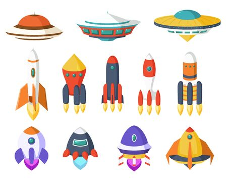 Vector of spaceship, Spacecraft, Rocket, UFO. A set of cute and colorful icon collection isolated on white background.  イラスト・ベクター素材
