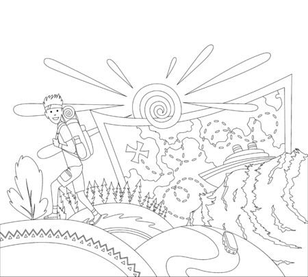 Go travel concept coloring book page. A tourist with a backpack goes on the mountains. Travel bag and different touristic elements, forest, map, cruise line.