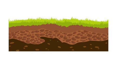 Immagine vettoriale di terreno, terreno e terreno senza soluzione di continuità per i giochi dell'interfaccia utente. Superficie del terreno, illustrazione di erba di pietra. Vettoriali