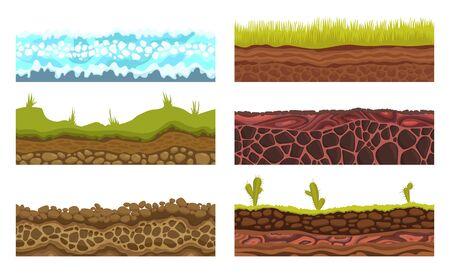 Terreni senza soluzione di continuità, suoli e set di vettori di terra per i giochi dell'interfaccia utente. Illustrazione del ghiaccio della neve dell'erba della pietra dell'acqua di superficie.