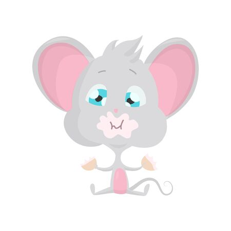 Cute grey mouse eats. Vector Stock Illustrations isolated Emoji character cartoon mouse stickers emoticon with emotion, situation and pose.