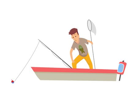 Fisherman flat icons. Fishing people with fish and equipment vector set. Fishing equipment, leisure and hobby catch fish illustration.  イラスト・ベクター素材