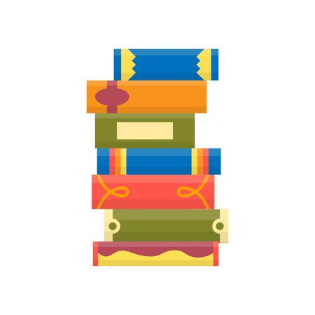 Stack of books on a white background. Pile of books vector illustration. Icon stack of books in flat style  イラスト・ベクター素材