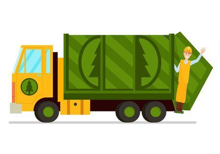 Illustrazione di vettore del camion della spazzatura e del lavoratore dei servizi igienico-sanitari.