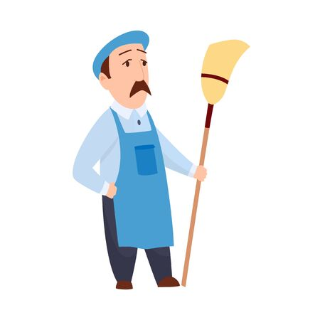male janitor in uniform mopping floor man cleaner holding mop cleaning service concept full length flat white background. Ilustrace