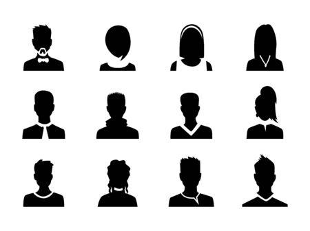 Conjunto de vector hombres y mujeres con imagen de perfil de avatar de negocios. Silueta de avatares.