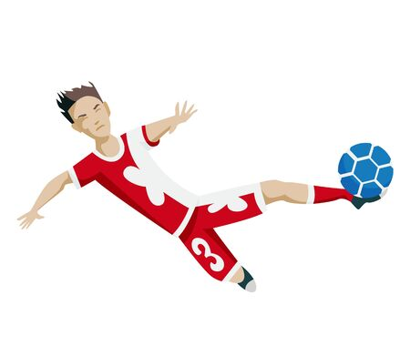 Football player character showing actions. Cheerful soccer player kicking the ball, jumping. Simple style vector illustration. Stock Illustratie