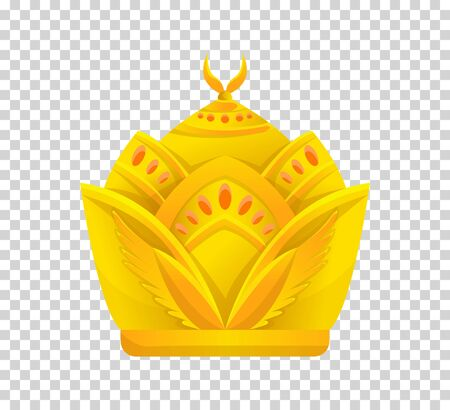Gold crown icon. Crown awards for winners, champions, leadership. Vector isolated element for icon, label, game, hotel, an app design. Royal king, queen, princess crown. Иллюстрация