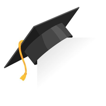 Graduation cap or mortar board on paper corner. Vector education design element isolated on white background 写真素材 - 131414814