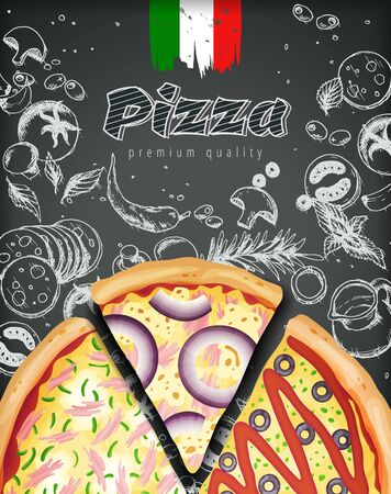 Italian pizza ads or menu with illustration rich toppings dough on engraved style chalk doodle background.  イラスト・ベクター素材