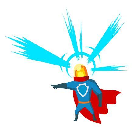 Pointing Superhero with head light character clipart cartoon vector.