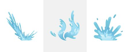 Blue waves and water splashes set, wavy symbols of nature in motion vector Illustrations Illusztráció