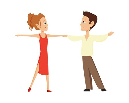 Boy and a girl are dancing on a white background. Kids ballroom dancing. Couple of small dancers. Vector illustration in cartoon style