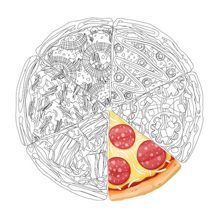Pizza from different slices top view isolated on white photo-realistic and coloring vector illustration. 向量圖像