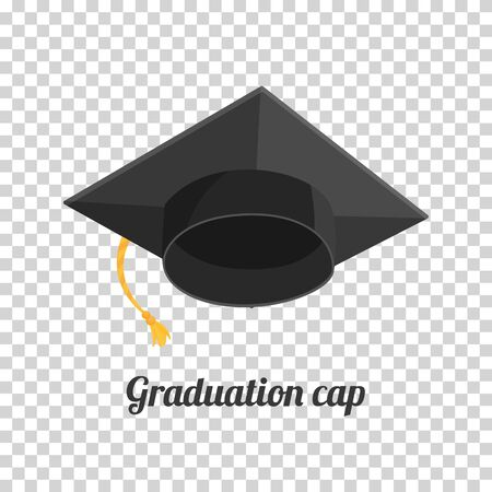 Graduation cap or hat vector illustration in the flat style. Academic cap. Ilustração