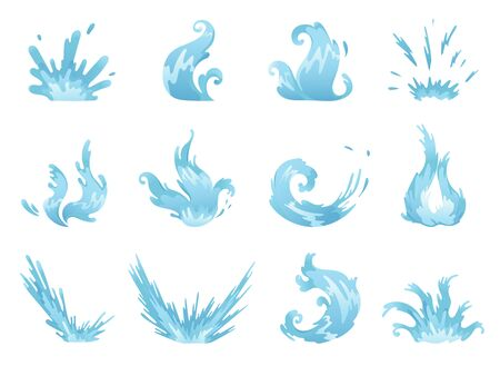 Blue waves and water splashes set, wavy symbols of nature in motion vector Illustrations.