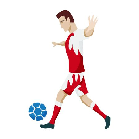 Football player character showing actions. Cheerful soccer player running, kicking the ball, jumping. Simple style vector illustration Stock Illustratie