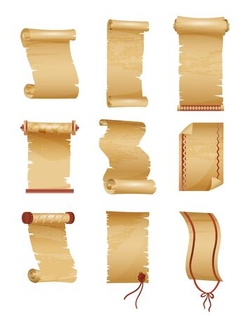 Set of antique or old paper roll. Horizontal and vertical scrolls or ancient manuscript, obsolete papyrus, rolled pentateuch background template. History and religion, wisdom theme