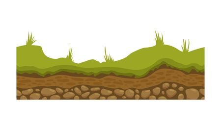 Seamless ground, soil and land vector image for UI games. Surface of ground, stone grass illustration. Çizim