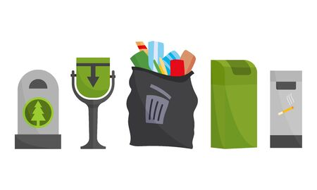 Recycling and garbage cans collection. City trashcan set with wheeled dumpster or trash container, recycle bins and waste basket 向量圖像