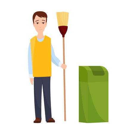 male janitor in uniform mopping floor man cleaner holding mop cleaning service concept full length flat white background. Иллюстрация