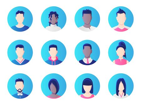 Avatar set. Group of working people diversity, diverse business men and women avatar icons. Vector illustration of flat design people characters. Çizim