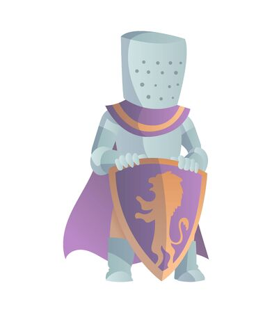 Medieval Knight In Full Armor Flat Illustration. The comic caricature. Funny Cartoon Knight.  イラスト・ベクター素材