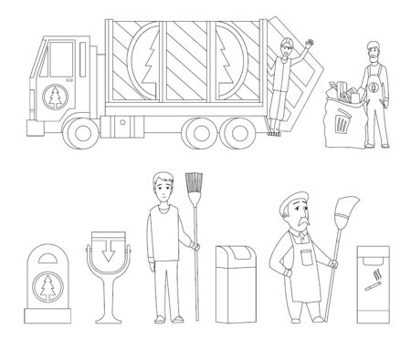 Garbage collection coloring book page. Garbage truck, garbage man in uniform waste bag recycle bin. Waste management concept illustration.