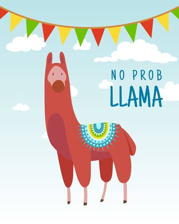 Cool cartoon doodle alpaca lettering quote with No prob llama. Funny wildlife animal on cactus background, lama quotes vector concept illustration. 向量圖像