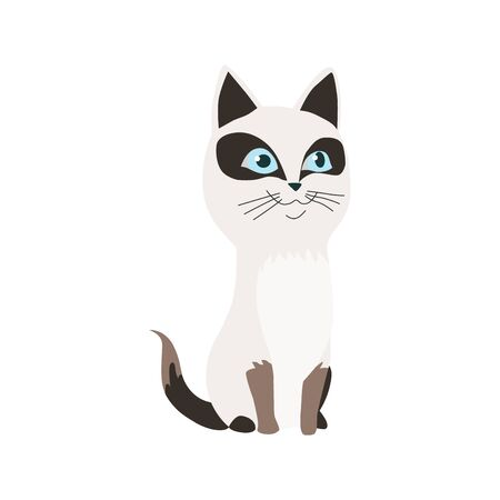Cute cartoon kittie or cat with colored fur vector illustrations.