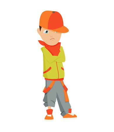 Boy in a red cap, green shirt and shorts dancing break on a white background.