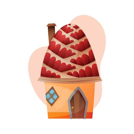 Fantasy house vector cartoon fairy treehouse and housing village illustration set of kids fairytale playhouse isolated on white background.