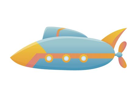 Yellow and blue submarine undersea cartoon style bathyscaphe underwater ship, diving exploring at the bottom of sea flat vector design