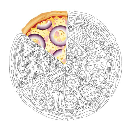 Pizza from different slices top view isolated on white photo-realistic and coloring vector illustration. Stock Illustratie