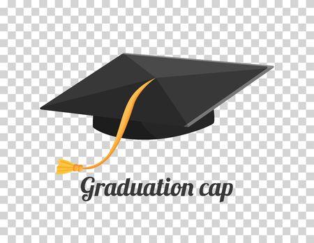 Graduation cap or hat vector illustration in the flat style. Academic cap. Vecteurs