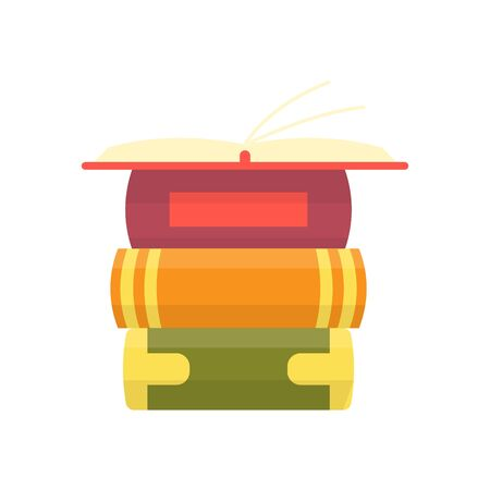 Stack of colorful books with open book on teal background. Education vector illustration