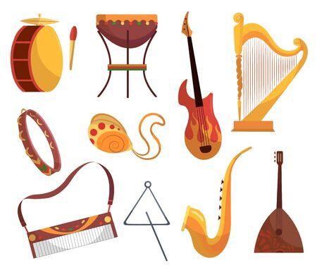 Définir divers instruments de musique tambourin, batterie, acoustique. Guitares électroniques violon accordéon trompette et batterie - outils de musique dessin animé vecteur plat
