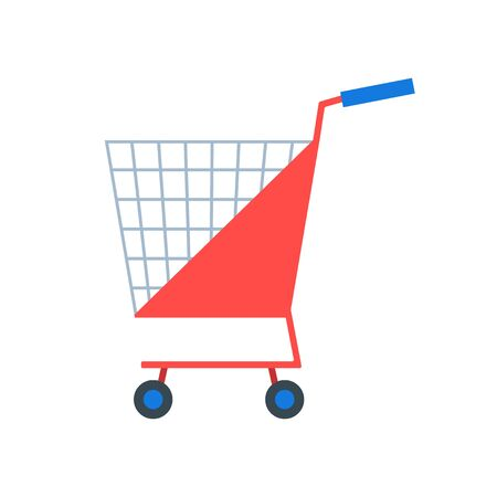Shopping cart or shop supermarket trolley baskets vector flat isolated icon.
