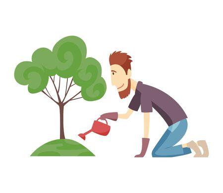 Gardener working in garden cartoon icon. Landscape designer and green tree. Landscape design profession.