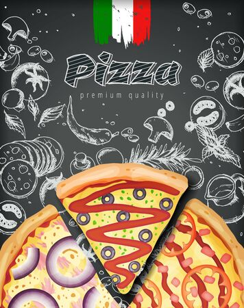 Italian pizza ads or menu with illustration rich toppings dough on engraved style chalk doodle background. Иллюстрация
