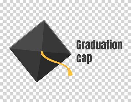 Graduation cap or hat vector illustration in the flat style. Academic cap.