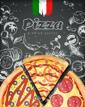 Italian pizza ads or menu with illustration rich toppings dough on engraved style chalk doodle background. 矢量图像