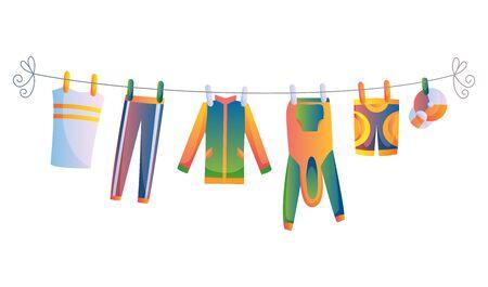 Verschiedene Einzelteile der Babykleidung auf Seil lokalisierten Vektorillustration auf weißem Hintergrund. Wäsche, die von Plastikklammern gehalten wird, trocknet Vektorgrafik
