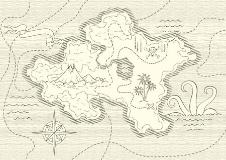 Old hand drawn map with vintage, wind rose, routs, nautical symbols and handwritten inscri ptions. Vector abstract seamless background on the theme of travel, adventure and discovery Vektoros illusztráció