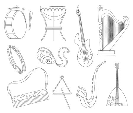Set various musical instruments: tambourine, drums, acoustic. Electronic guitars violin accordion trumpet and drums - music tools cartoon flat vector Illustration